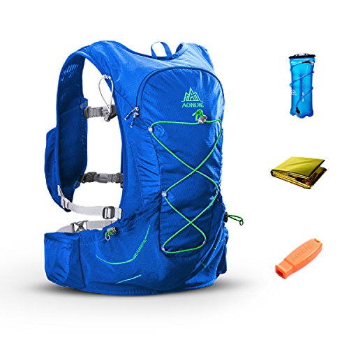 TRIWONDER 15L Trinkrucksack Ultra Trail Running Weste Marathon Rucksack mit Trinkblase (Blau - mit 3L Wasserblase)