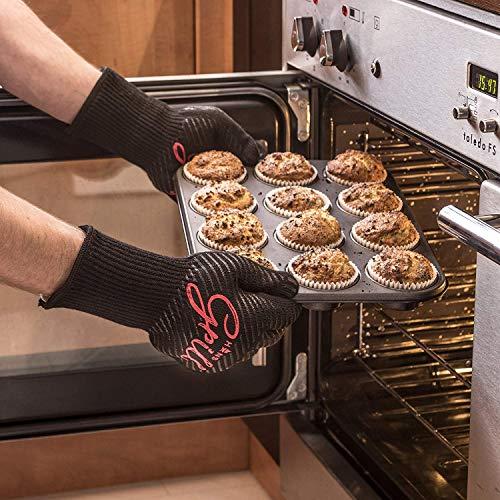 51aOwU6O5hL - Hans Grill Grillhandschuhe Ofenhandschuhe - Hitzefeste BBQ Handschuhe Topfhandschuhe Professionelle Zertifizierte Küchenhandschuhe 500°C 923°F 1 Paar