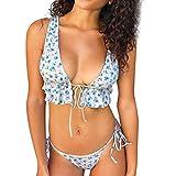 JMETRIC Freizeit-Reise-Strand-Bikini-Krawatte Blumendruck-Rüschen-Badeanzug(Weiß,S)