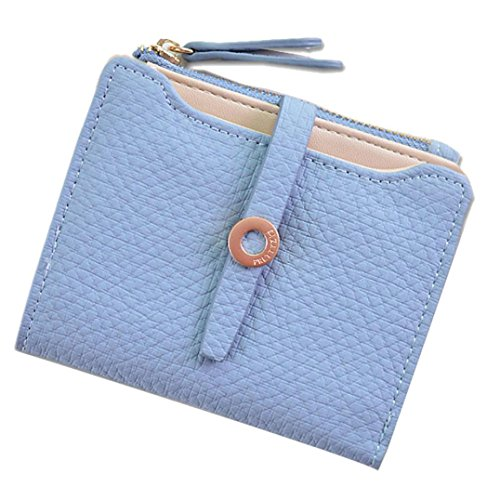 Trada Geldbörse Damen Leder, Portemonnaie Damen Mädchen Fashion Pumping Gürtelschnallen Short Style Damen Geldbörse Wallet Card Bag Geldbörse mit Geschenkbox (Blau)