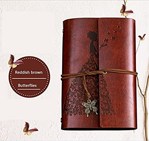 Caidi Butterfly Princess Journal Spiral Writing Notebook, Art Sketchbook, Travel Diary Notebooks, Antique Handmade Daily Notepad with Blank Pages and Retro Pendants Redish Brown