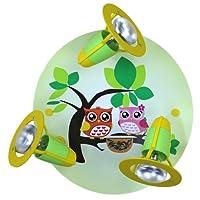 Pastel Green Owl 3 Way Round Plate Ceiling Spotlight elobra 128251