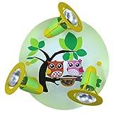 Elobra Kinder Lampe Rondell Eulen Familie Deckenleuchte Kinderzimmer Holz, lindgrün 128251