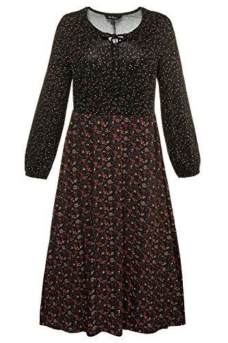 Ulla Popken Damen große Größen | Jerseykleid mit Millefleurs-Muster | Tunikaausschnitt | ausgestellter Saum | Lange Ärmel | bis Größe 66+ |...
