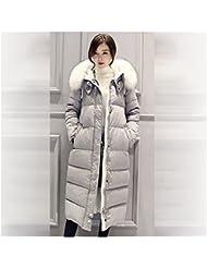 Mädchen Damen Frauen Winterfeste Winter Bekleidung Lange Jacke Mantel Verdickende Warme Leichte Dünne Wärmehaltung Steppjacke Daunenjacke Weiß Pelz Kapuze grau