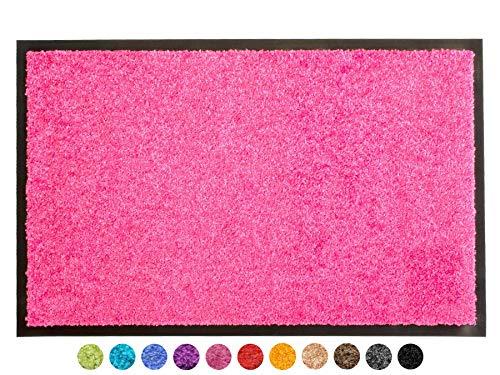 Primaflor - Ideen in Textil Schmutzfangmatte CLEAN - Pink 40x60 cm, Waschbare, rutschfeste, Pflegeleichte Fußmatte, Eingangsmatte, Küchenläufer Sauberlauf-Matte, Türvorleger für Innen & Außen