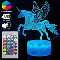 3D Unicorn Fairy Illusion Lamp 16 Colors Optical Led Night Light Desk LED Touch Table Lamp Toys 3D Lamp Girls Boy Kids for Birthday Holiday Christmas