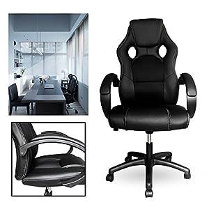 51aP%2BW5DDaL. SS300  - HG-HG-PU-Racing-Chair-Silla-de-oficina-Comfort-Executive-Chair-Silla-giratoria-Negro-Altura-ajustable-Capacidad-de-carga-200-kg
