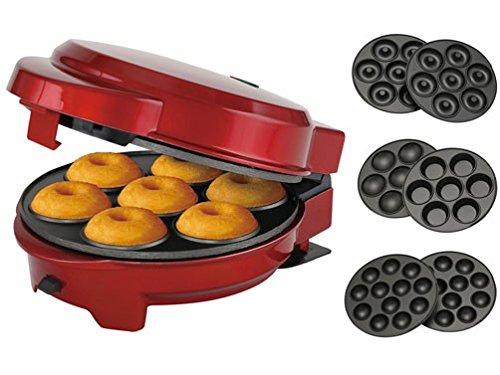 Melissa 16250075-3in1 Donut Muffin und Popcake-Maker 3 auswechselbare Backplatten, metallic rot