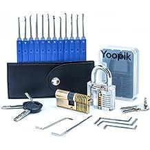 Yoopik Juego de 17 Ganzúas con 2 Cerraduras de Capacitación - un Candado de Práctica Transparente y Cerradura en Leton de Doble Cilindro - Lock Pick Set en un Maletín de Transporte y una Guía Descriptiva en eBook