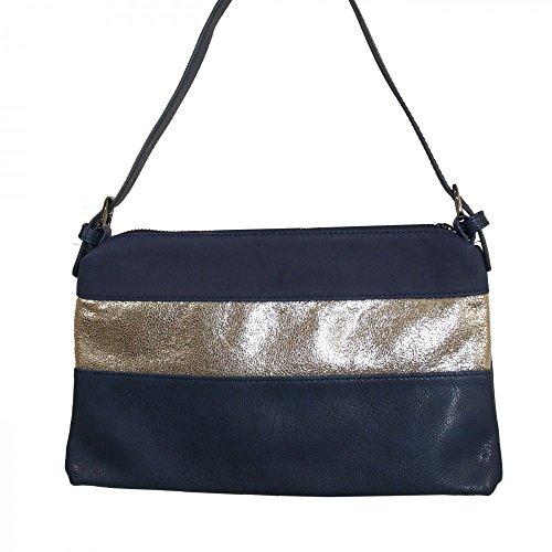 Shopping-et-Mode - Pochette de soirée bleue simili-cuir avec bande à paillettes - Bleu, Simili-cuir