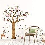 BAIYUDE Große Größe Nette Schnecken Deer Baum Wandaufkleber Für Kinderzimmer Schlafzimmer Wohnzimmer Kindergarten Hintergrund DecalsKunstwand Finish: 170X145 cm