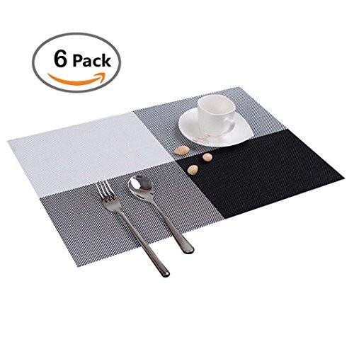 Tischmatten Set 6er PHOEWON PVC Rechteck Tischmatten Set Abwaschbar Isolierung Tischmatte Platzset Plastik für Esstisch, Küche 30x45CM (Schwarz)