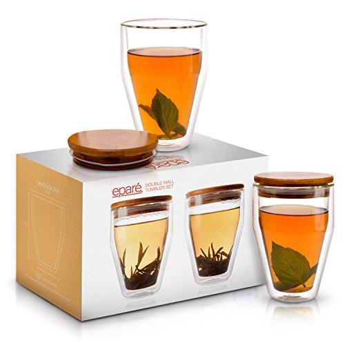 Ensemble de tasses à café isothermes Eparé (10 oz, 300 ml) avec couvercle – tasse en verre à double paroi – tasse à thé, café au lait, expresso, jus ou eau – 2 tasses