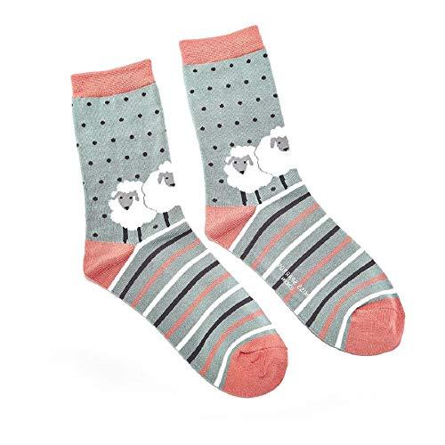 LilyRosa® Damen Socken, weiße Schafe, Enteneiblau, Grün, Senf, Bambus-Mischung, 2 Paar -