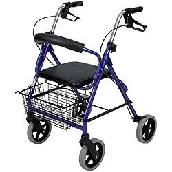 Rueda de andador 4 de aluminio con asiento