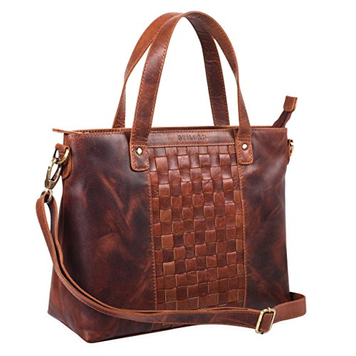 STILORD 'Mara' Borsa da donna in pelle vintage Grande borsa a tracolla con manici e con elegante intreccio in vero cuoio, Colore:siena - marrone