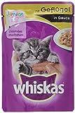 Whiskas Katzen-/Nassfutter Junior für junge Katzen mit Geflügel in Sauce, 24 Portionsbeutel (24 x 100 g)