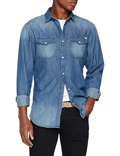 JACK & JONES Jjesheridan Shirt L/s Camisa Vaquera, Azul (Dark Blue Denim Fit: Slim), X-Large para Hombre