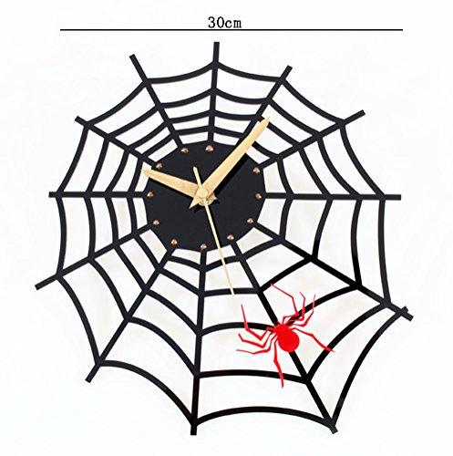 Flashing- Kreative Persönlichkeit Spinne Web-Form Acryl Wanduhr, Kinderzimmer Cartoon Kreative Wohnzimmer Wand Anhänger (Web-eisen)