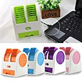 #9: PERFECT SHOPO Mini Portable Hand-held Bladeless Cool Fan Air Conditioner Water Cooling Cooler Table Desk Desktop Electric Fan Rechargeable USB Battery Operated for Home Office Student