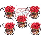 "NAYAB Iron Heart Design Hanging Baskets Flower Pot Holder Without Pots for Railing Fence Balcony Garden Home Decoration (Set of 5 Basket- 8"" X 6"")"