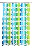 Textil Duschvorhang (PE-Lining) ca. 180x200 cm Ösen Vorhang wasserfest inkl. 12 Ringe Latex Beschwerungsband - Design Punkte blau grün