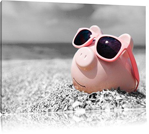 Cooles Sparschwein mit Sonnenbrille am Strand schwarz/weiß Format: 100x70 auf Leinwand, XXL riesige Bilder fertig gerahmt mit Keilrahmen, Kunstdruck auf Wandbild mit Rahmen, günstiger als Gemälde oder Ölbild, kein Poster oder Plakat