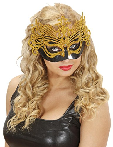 Gran Carnevale Eyemask Black - Gold Glitter Traditional Acapulco Masks Eyemasks & Disguises for Masquerade Fancy Dress Costume ()