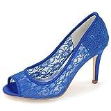 Elobaby Frauen Hochzeit Schuhe Spitze Edel Charmant Peep Toe Größe Party/35-42 Größe/9 cm Ferse, Blue, 42