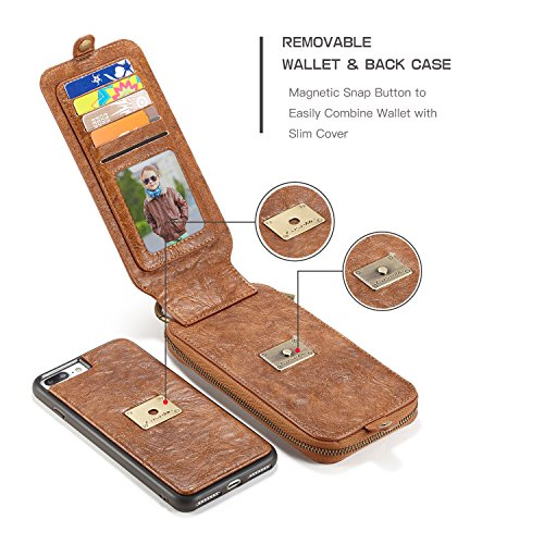 SDDMALL CaseMe Leder Geldbörse mit Magnetic PC + TPU Rückseitige Abdeckung Abnehmbare Folio Bargeldhalter Zipper Design Für iPhone 7 Plus ( Color : Black ) Brown