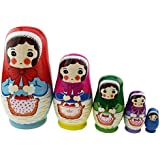 Cute Shy Little Girl Holding Apple Basket Handmade Wooden Russian Nesting Dolls Matryoshka Dolls Set 5 Pieces For Kids Toy Birthday Christmas Gift Home Decoration