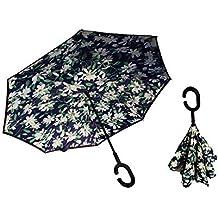 Paraguas Reversible invertido antiviento Grande autosecado Flor
