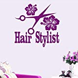Hwhz 68X50 cm Hair Salon Sticker Beauty Scissors Decal Haircut Name Posters Vinyl Wall Art Decals Decor Decoration Mural Salon Sticker F