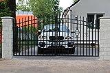 SO58 Einfahrtstor Hoftor Doppelflügeltor Gartentor Maria mit Riegelset 350 x 175 cm Komplett-Set inklusive 2 Torelementen, 2 Natursteinoptik-Pfosten und Beschlägen. Gesamtbreite ist ca. 433 cm