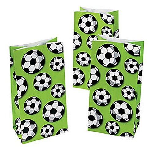 12 x Fußball Soccer Geschenktüten Tüten Beutel Mitgebsel Fußballparty Kindergeburtstag Sport Geburtstag Giveaway
