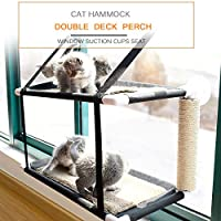 Festnight Cat Window Perch Hammock Bed Double Deck Window Suction Cups Seat Cat Shelves Sunbath Hammock Bed for Cat Hold UP to 20KG 44lbs