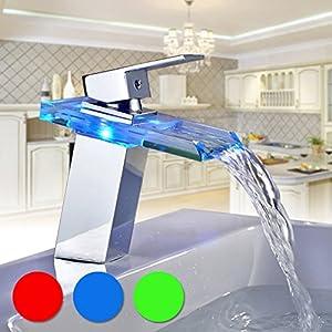 BONADE Grifo de Cristal para Baño con Luces LED RGB, Cascada de Lavabo Monomando, Cuenca Mezclador Agua Fría y Caliente…
