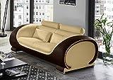 SAM 2-Sitzer Sofa Vigo, Creme/braun, Couch aus Kunstleder