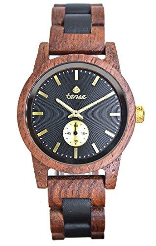 TENSE // Die Holzuhr - Mens Hampton made in Canada Rosenholz/Sandelholz - braun/schwarz - Herren-Uhr - Holz-Uhr B4700RD-BG