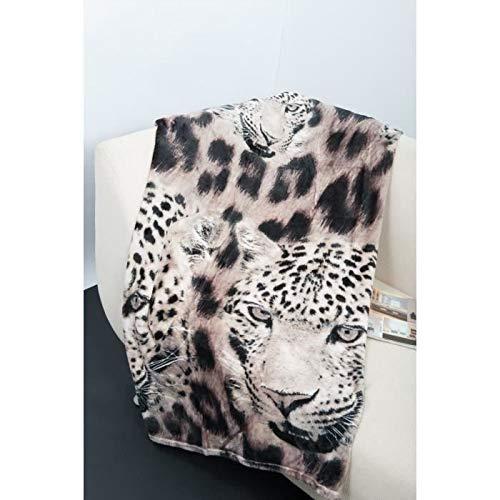 Plaid J microfibre grand luxe 150x200 cm léopard blanc - Luxe Leopard