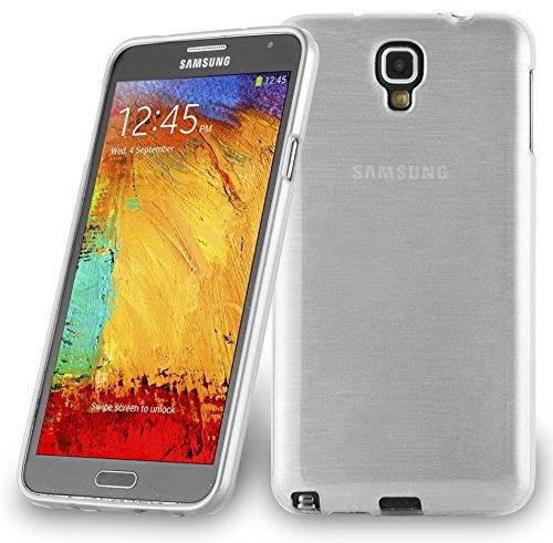 Preisvergleich Produktbild Cadorabo Hülle für Samsung Galaxy Note 3 NEO - Hülle in Silber – Handyhülle aus TPU Silikon in gebürsteter Edelstahloptik (Brushed) Silikonhülle Schutzhülle Soft Back Cover Case Bumper
