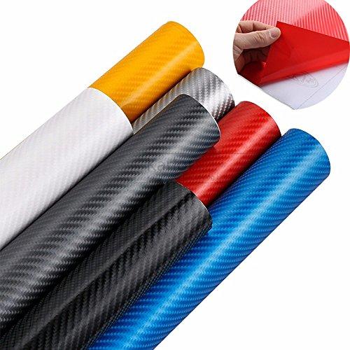FuTaiKang Pegatina de Fibra de Carbono Impermeable Película 3D Adhesivo Vinilo Etiqueta Engomada del Vinilo del Coche Decorativo Cada Rollo de 1.27m * 30cm (Azul)