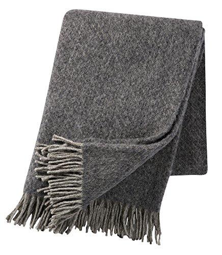KLIPPAN Grau gemusterte Wolldecke 'Fogg', 75 % Lambswool - 25% Gotlandwolle, 130x200cm