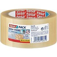 tesapack Ultra Strong Packband Transparent / Durchsichtiges Paketband aus PVC von tesa mit besonders starker Klebekraft / 66 m x 50 mm