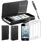 ebestStar - Compatible Coque iPhone 5C Apple Etui PU Cuir Housse Portefeuille Porte-Cartes Support Stand + Mini Stylet + 3 Films d'écran, Noir [Appareil: 124.4 x 59.2 x 9mm, 4.0'']