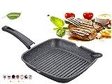 FRX Grillpfanne Marmor Keramik Antihaft-Beschichtung Bratpfanne Steakpfanne Aluguss-Pfanne (28 cm)