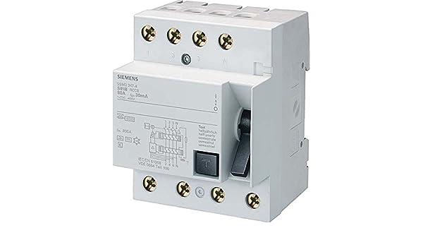 Siemens 5SM3344-4 FI-Schutzschalter, 4-polig, Typ B 40A 30mA 400V ...