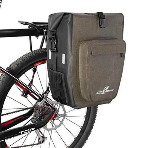 LYCAON Fahrradtasche 1 Pack 30L wasserdichte Gepäckträgertasche Hinterradtasche Fahrradzubehör Fahrradtasche Gepäckträger Mit Schultergurt und PA-Schnellverschlüssen (Dunkler Khaki) 1 Pack-tasche