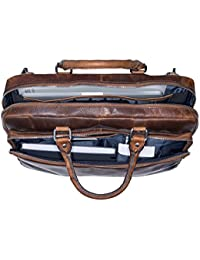 """Jost Briefcase with zip 15"""" Glasgow Christmas Edition Leather l"""
